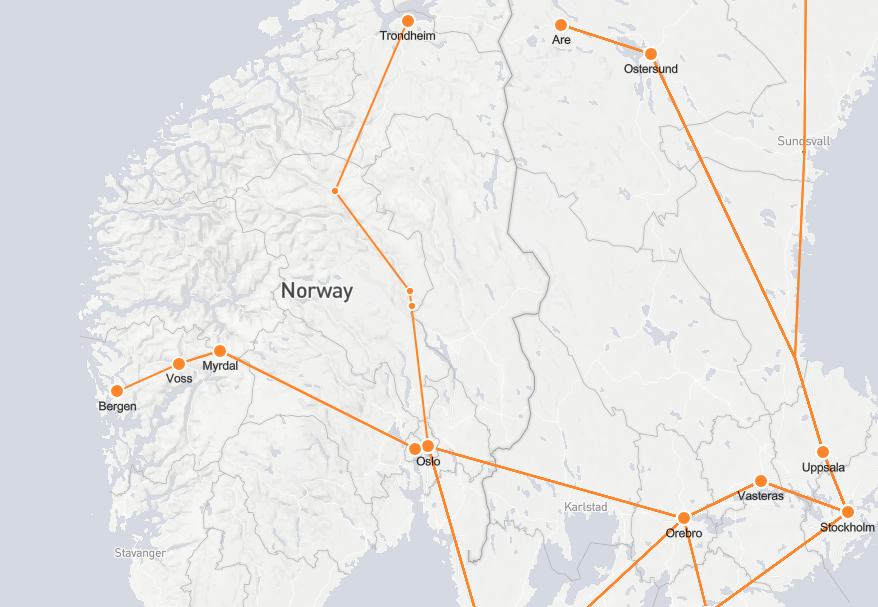 Norwegian rail routes map